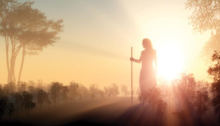 Silhouette de Jésus berger